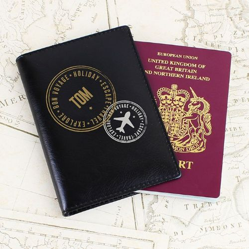 Personalised Stamped Black Passport Holder